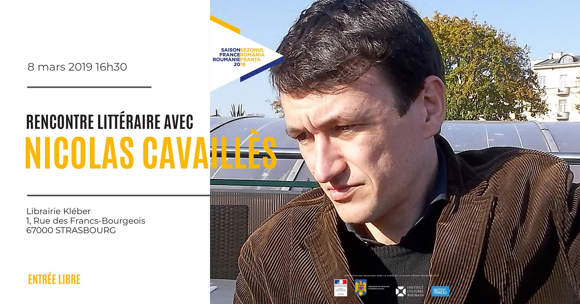 Rencontre littéraire avec Nicolas Cavaillès Strasbourg